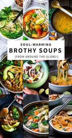 20 Healthy Broth Based Soup Recipes From Around The World. Delectable And Simple, With Many Paleo, Gluten-Free And Vegan Options Via Feastingathome Healthy Soup Recipes, Healthy Appetizers, Appetizer Recipes, Vegetarian Recipes, Cooking Recipes, Paleo Soup, Soup Appetizers, Vegetarian Soup, Simple Recipes