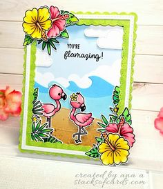 Sunny Studio Stamps: Fabulous Flamingos & Tropical Paradise Card by Ana Anderson (using Catch A Wave & Fluffy Clouds Dies) Rainbow Words, Sunnies Studios, Studio Cards, Pretty Pink Posh, Diy Cards, Handmade Cards, Ocean Themes, Scrapbook Cards, Scrapbooking