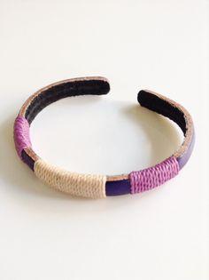 Purple Leather bracelet, Spring Leather Bracelet, Violet leather cuff, Leather Wristband, Wax cord, Friendship bracelet, Handmade jewelry