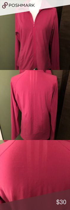 Like new Women's Adidas size XL full zip jacket! Like new women's size Xtra large Clima lite Adidas full zip jacket. Awesome pink color, two side pockets and the Adidas triple stripe up the back (see pics). Very comfortable and cute! adidas Tops Sweatshirts & Hoodies