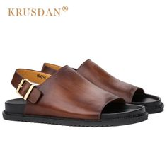 63.00$  Buy now - http://ali0ud.shopchina.info/go.php?t=32805767732 - KRUSDAN High Quality Summer Man Casual Flat Heels Shoes Genuine Leather Male Beach Slipper Ankle Wrap Men's Roman Sandals OQ35  #buyonline