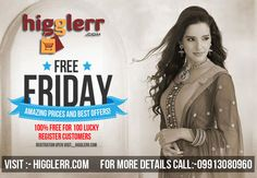 """100% Free For 100 Lucky Customers ! Register On Higglerr.com"" Awesome post by Higglerr Free Friday Offer #fashion"