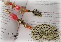 Designer Beaded Bookmark  Beryl by SassyBookBling on Etsy, $19.00
