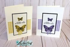 Butterfly Gala bundle with the Gingham Gals designer paper; a perfect match!   See why at  Flowerbug.net #butterflygala, #ginghamgala, #butterflyduet, #punch, #stampinup, #organdyribbon, #diy, #cards