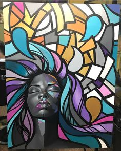 Modern Art, Cubism Art, Art Painting, Black Art Painting, Female Art, Painting Art Projects, Canvas Art, Portrait Art, Pop Art
