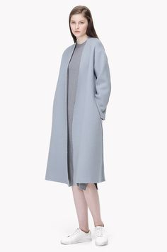 Frayed outseam wool blend maxi coat