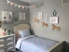 Horse Bedrooms You'll Want to Live in No Matter How Old You Are - The Plaid Horse Magazine Big Girl Bedrooms, Little Girl Rooms, Girls Bedroom, Girls Horse Bedrooms, Horse Themed Bedrooms, Bedroom Themes, Horse Bedroom Decor, Bedroom Ideas, Toddler Rooms