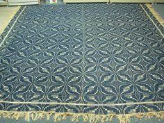 Antique Pennsylvania Navy Blue Ivory Wool Geometric Overshot Coverlet | eBay