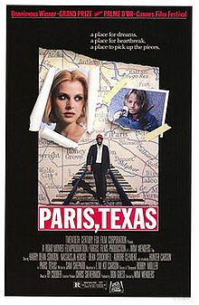 Paris texas  Movie I believe there was only one scene actually shot in my hometown of Paris, Texas. We have this poster.