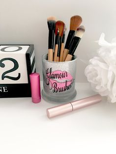 Makeup Brush Holder Glitter Dipped Makeup by WoodWorxDesigns