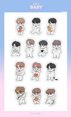 Cartoon Stickers, Cute Stickers, Bullet Journal Hand Lettering, Kpop Diy, Seventeen Woozi, Cartoon Fan, Seventeen Wallpapers, Journal Stickers, Kpop Fanart