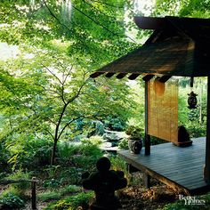 Create an intimate space in your Japanese garden with a teahouse or pavilion made of bamboo or wood. Use such a structure for entertaining or for viewing the serene landscape.
