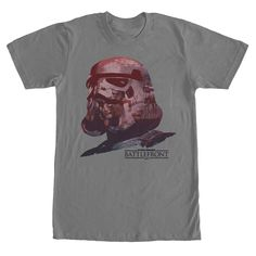 Trooper Visions - Join the Galactic Empire on their quest for victory with the Star Wars Battlefront Stormtrooper Helmet Visions CHARCOAL Gray T-Shirt. A stormtrooper helmet lightly filled in with battle scenes is on the front of this gray Star Wars Battlefront shirt
