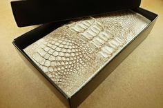 100% Genuine Skin Leather Crocodile Alligator Wallet Long Bifold Lady Bag White #GenuineCrocodileSkin #Bifold