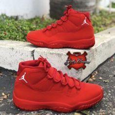 Custom Air Jordan 11 By caincustomz KeepYourSoleClean nike . Sneakers Mode, Cute Sneakers, Sneakers Fashion, Shoes Sneakers, Women's Shoes, Shoes Style, Nike Red Sneakers, Yeezy Shoes, Pink Shoes