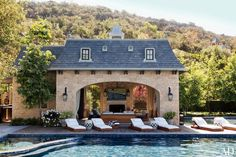 The outdoors meets the indoors for a late night swim followed by cozy cocktails by the fire   dD