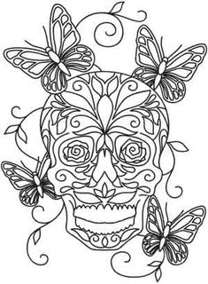 Sugar Skulls coloring page ~ Mariposas Skull Coloring Pages, Printable Adult Coloring Pages, Animal Coloring Pages, Colouring Pages, Coloring Books, Card Patterns, Embroidery Patterns, Machine Embroidery, Sugar Skull Art