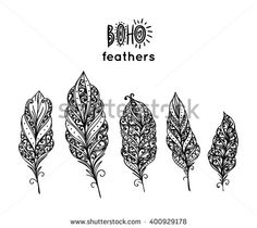 Set of ethnic feathers. Hand drawn feathers - stock vector