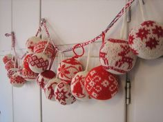 Ready in time for the Christmas Fair! Most of the Christmas ball patterns are from the book Julekuler  by Arne & Carlos, Norwegian knitwear ...