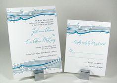 Ocean Waves Beach Wedding Invitation - G4