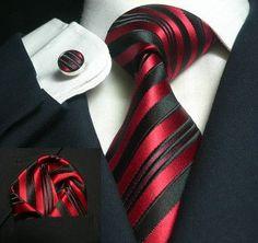 Black and Red/Wine Stripe Necktie Set JPM636 - Toramon Necktie Company
