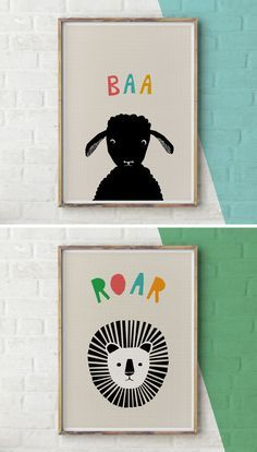 15 Modern Nursery Art Prints To Dress Up Your Child's Walls | Sheep and Lion Prints by YoYo Studio
