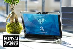 """Premium photorealistic PSD Mockup of the MacBook Pro named """"Bonsai"""". See what's Business Card Logo, Business Card Design, Business Brochure, Web Mockup, Mockup Templates, Macbook Screensaver, Macbook Wallpaper, Pencil Illustration, Paint Markers"""