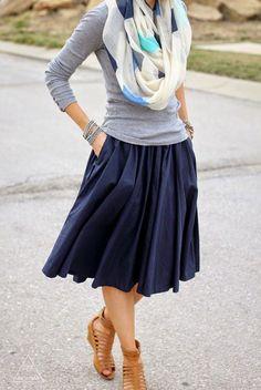 Navy midi skirt, grey tee, printed scarf, gladiator sandals