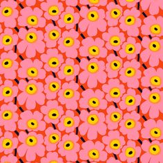 Pieni Unikko fabric from Marimekko by Maija Isola Textile Pattern Design, Surface Pattern Design, Textile Patterns, Pattern Art, Flower Pattern Design, Graphic Design Pattern, Pattern Ideas, Design Patterns, 60s Patterns