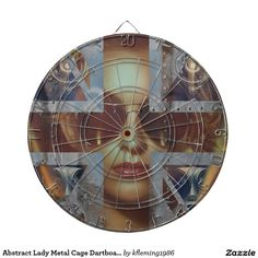 Abstract Lady Metal Cage Dartboard