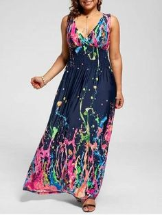 Empire Waist Sleeveless Plus Size Maxi Splatter Print Dress - Multi - Gypsy Look, Hippie Look, Hippie Stil, Modest Maxi Dress, The Dress, Floral Maxi Dress, Halter Sundress, Pink Maxi, Blue Maxi