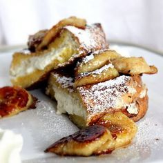ricotta stuffed french toast with caramelized bananas.