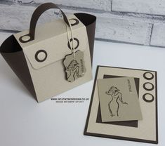 Stampin' Up! UK Demonstrator Intatwyne Designs - Pootlers Blog Hop  Spring/Summer 2017 Launch - Chic Handbag and matching card using Falling in Love DSP and Beautiful You stamp set in French.