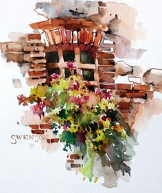 Brenda Swenson: Vignette.  A small, colorful, unfinished watercolor simply defined.  Great instructions!