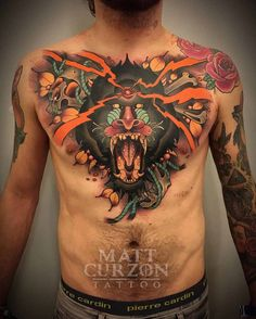 chest tattoo neo-traditional baboon