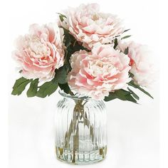 English Garden Peonies in Vase (3.920 RUB) ❤ liked on Polyvore featuring home, home decor, floral decor, flowers, decor, filler, fake flowers, artificial flowers, faux peony arrangement and artificial flower stems