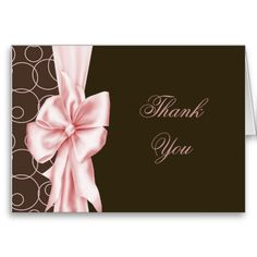 Elegant Pink and Brown Thank You Cards