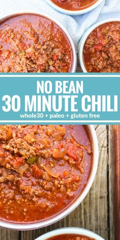 This No Bean 30 Minute Chili is the ultimate comfort food. Plus it's Whole30, paleo, & gluten free!