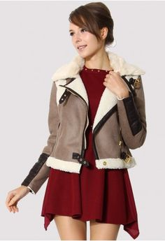 Faux Fur Leather Motorcycle Jacket