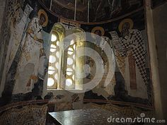 Byzantine wall paintings around the marble altar in Agios Antonios (Saint Anthony) church at Kesariani Monastery, on the slopes of Mount Hymettus, Athens, Greece.