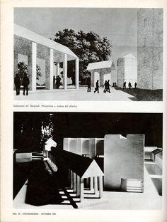 """Aldo Rossi, Project of the square, Sannazzaro de' Burgondi (PV), 1967 (Architettura di Aldo Rossi 1964-1970, in """"Controspazio"""", Bari, Edizioni Dedalo, 1970, n. 10, p. 34)"""
