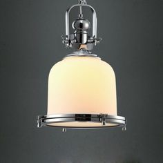 Chrome-edged Dome Frosted Glass Shaded  Industrial  Mini Pendant