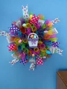 Check out this item in my Etsy shop https://www.etsy.com/listing/569176798/bright-and-colorful-easter-wreath