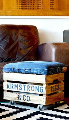 How to make a handy DIY ottoman. Not only is this rolling storage ottoman a great footstool with handy storage it can be personalized too. Denim Furniture, Crate Furniture, Diy Furniture Projects, Diy Projects, Storage Footstool, Crate Storage, Diy Storage, Storage Ideas, Diy Footstool