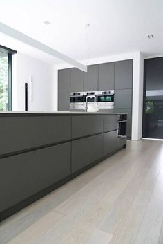 Grey Kitchen Ideas Stainless Steel appliances No handle bars on Cabinetes