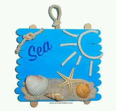 sea, what we did today 😂 Sea Crafts, Seashell Crafts, Crafts To Make, Arts And Crafts, Summer Crafts For Kids, Diy For Kids, Craft Activities, Preschool Crafts, Diy Popsicle Stick Crafts