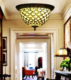 Makenier Vintage Tiffany Stained Glass Bead Patterned Flush Mount Ceiling  Lamp | eBay