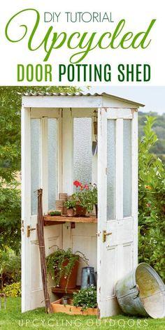 Make your own mini door shed with this tutorial from Upcycling Outdoors. #gardenart #gardenshed #shed #upcycled #repurpose #olddoors #upcycling #gardenjunk #gardendecor #diygarden #gardenideas #empressofdirt #upcyclingoutdoors #weekendproject #gardening #toolshed