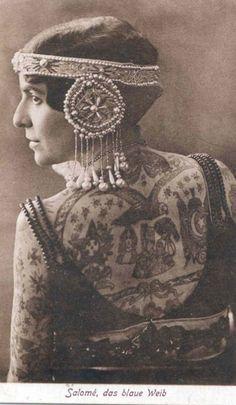 'Salome, the blue maiden', photograph taken 1927 | tattood lady | sideshow.