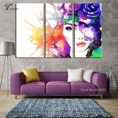 3 Painel de Decoração Da Parede Da Arte Abstrata Beleza Lona Cópia da Aguarela Rosto da menina Pop Art Pintura Imagem Para Quarto Escritório Não quadro